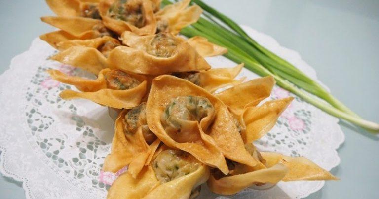 Recette addictive de wontons frits à la ciboulette